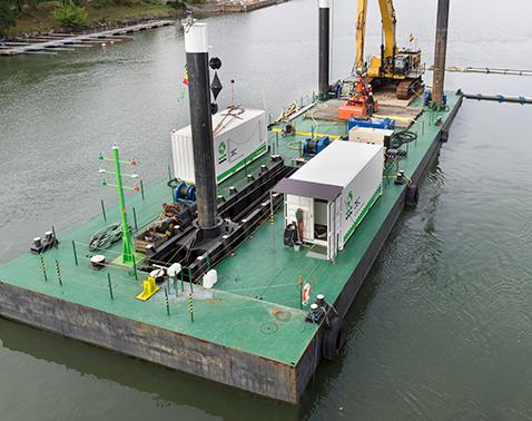 modular pontoon Foyle walking spudleg